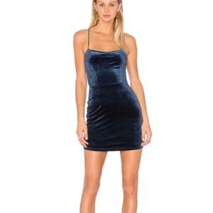 NBD velvet navy mini dress
